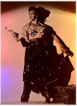 Toni in a theatrical costume in 1950 or 51 in Chicago