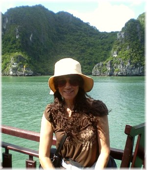 After a week of teaching in Hanoi, Author relaxing in a cruise at Halong Bay, Vietnam