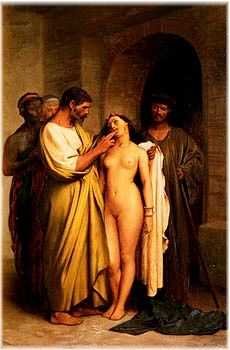 Gerome's painting of a slave purchase