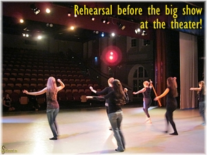 Rehearsing before the big show at the theater!