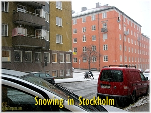 Snow in Stockholm.