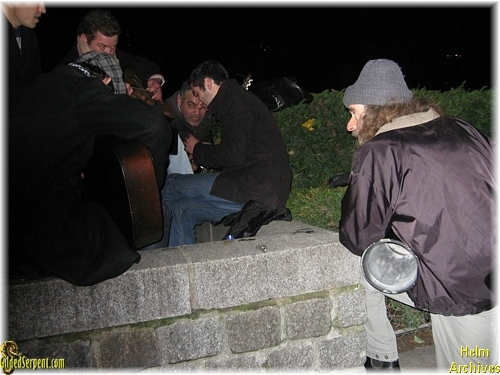 After the show,Mark playing with some Berbers on the banks of the Bassin de la Villette