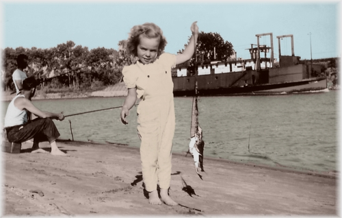 Lil Najia catches a catfish