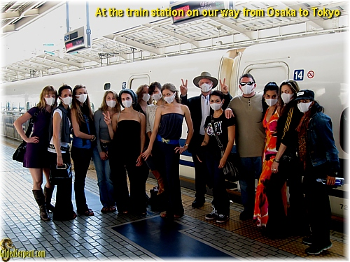 Masks on whiile at the train station in Japan