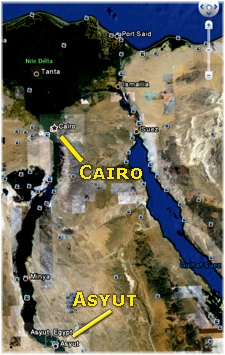Asyut and Cairo on map