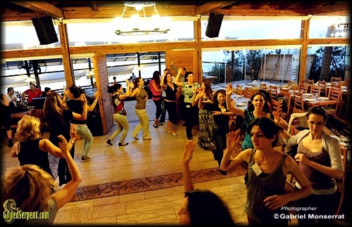 Dancing during the tour at the restaurant