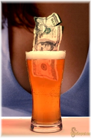Beer-money-cleavage