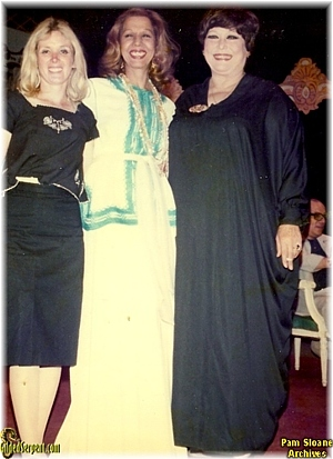 Author poses with Samia and Tahia in 1977