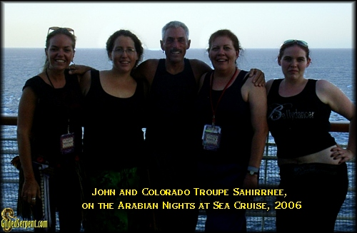 John and Colorado Troupe Sahirrnee, on the Arabian Nights at Sea Cruise, 2006