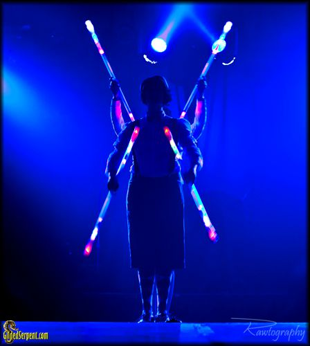 Entropy Arts with glowing double staff dance  (Jenn Biswas and Diana Cimamadore)
