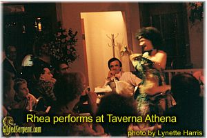 Rhea performs at Taverna Athena in Oakland, early 90s