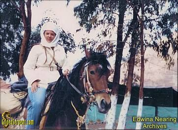 Edwina Nearing on her Arabian stallion