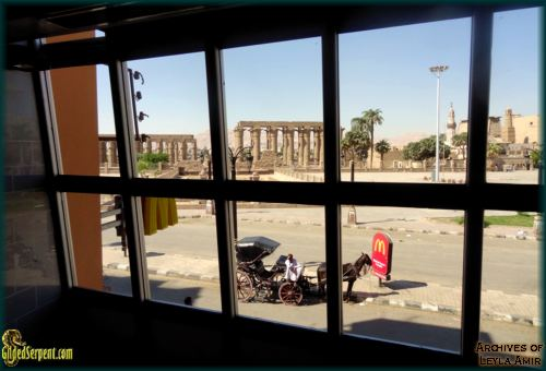 The Templein Karnak viewed from inside McDonald's acroos the street.