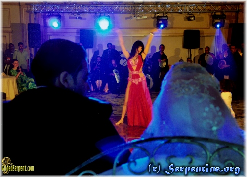 Leila dances at the Henkesh wedding. Author Yasmin is visible on left in green dress.