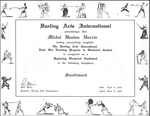 Short Sword certificate